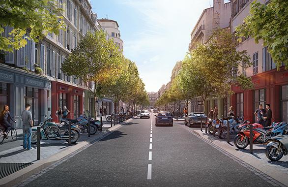 Requalification du Cours Lieutaud vue rue Berlioz Tangram Marseille Urbanisme