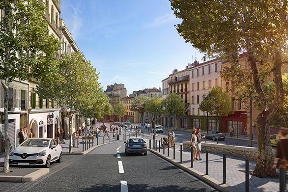 Requalification du Cours Lieutaud vue rue Thurner Tangram Marseille Urbanisme