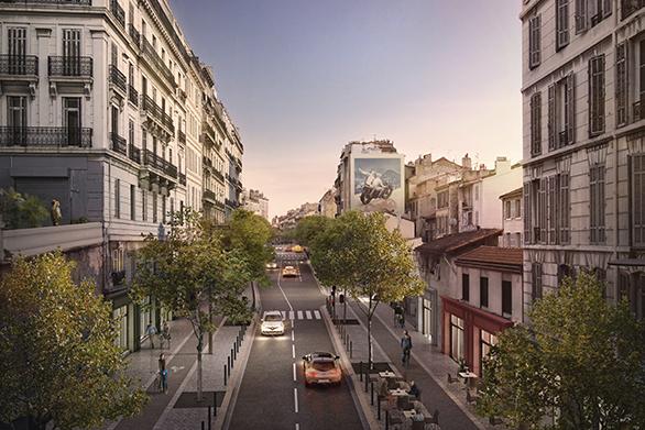 Requalification du Cours Lieutaud vue rue PasserelleTangram Marseille Urbanisme